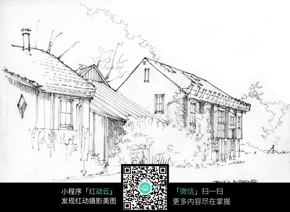 手绘乡村建筑线描画
