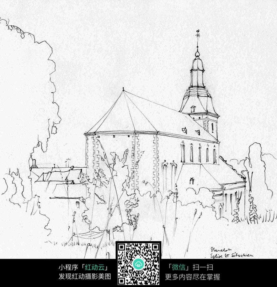 手绘乡村景观建筑线描画