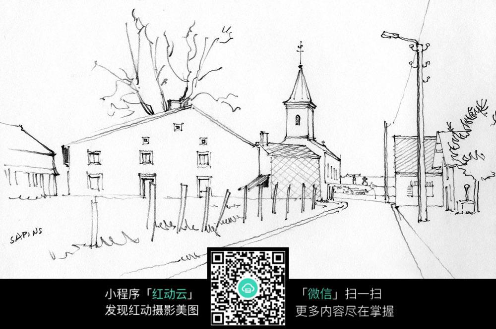 手绘乡村小道建筑钢笔线描画图片