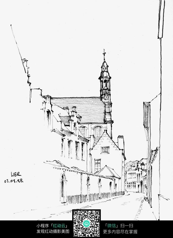 手绘乡村小路钢笔线描画_建筑设计图片_编号3724716