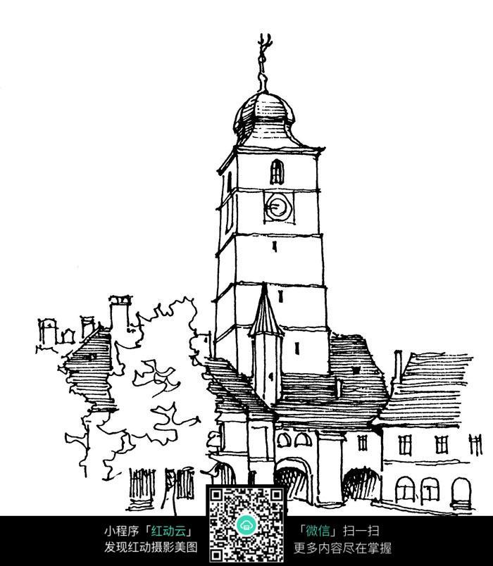 手绘钟楼建筑线描图
