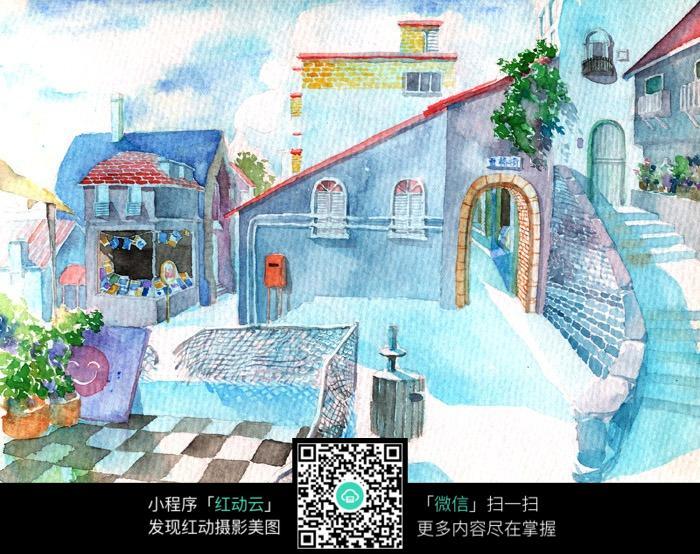 水粉建筑插画_人物卡通图片