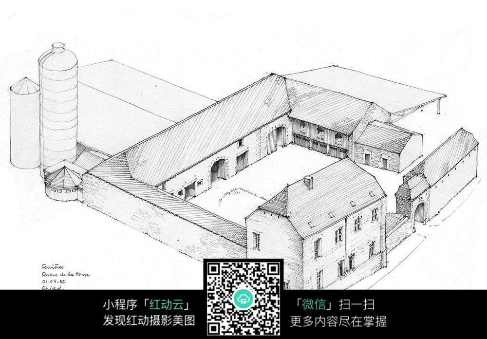 四合院手绘建筑图片