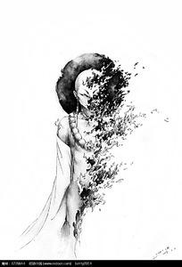 美女黑白素描画图片 美女黑白素描画设计素材图片
