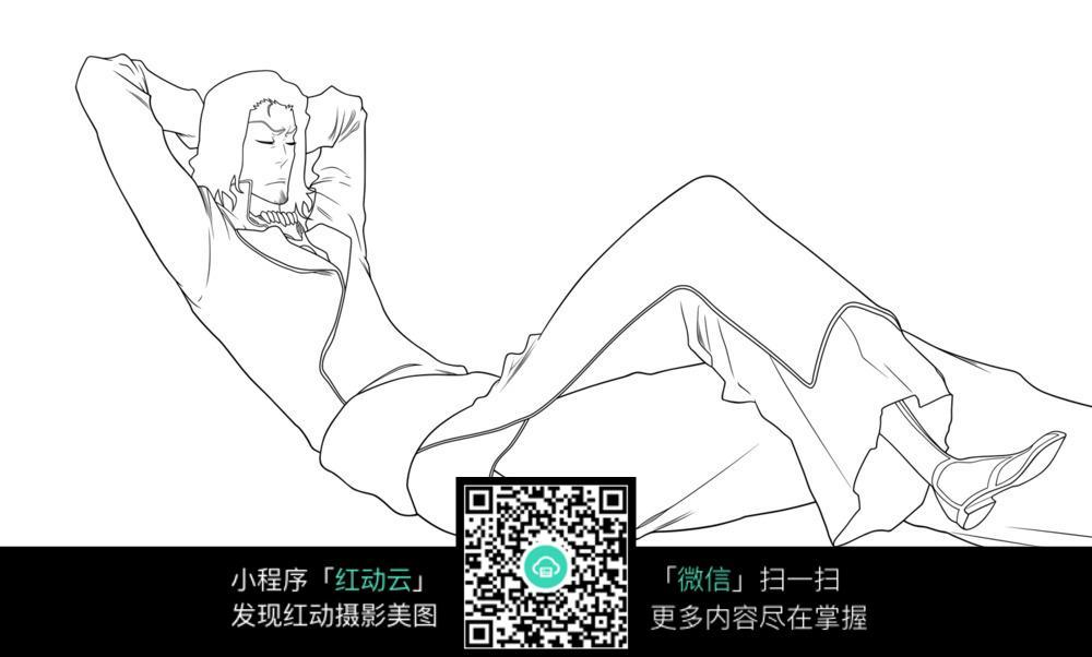 躺着的男子卡通手绘线稿图片