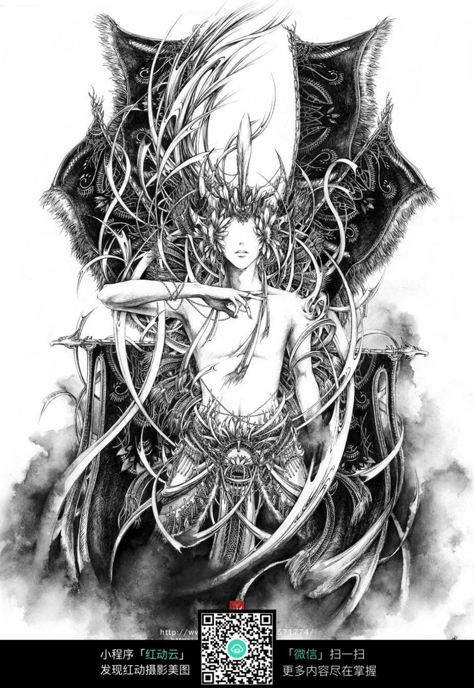 免费素材 图片素材 漫画插画 人物卡通 《天枢》创意美手黑白水素描画