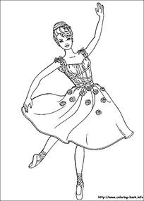 跳舞的女孩线描