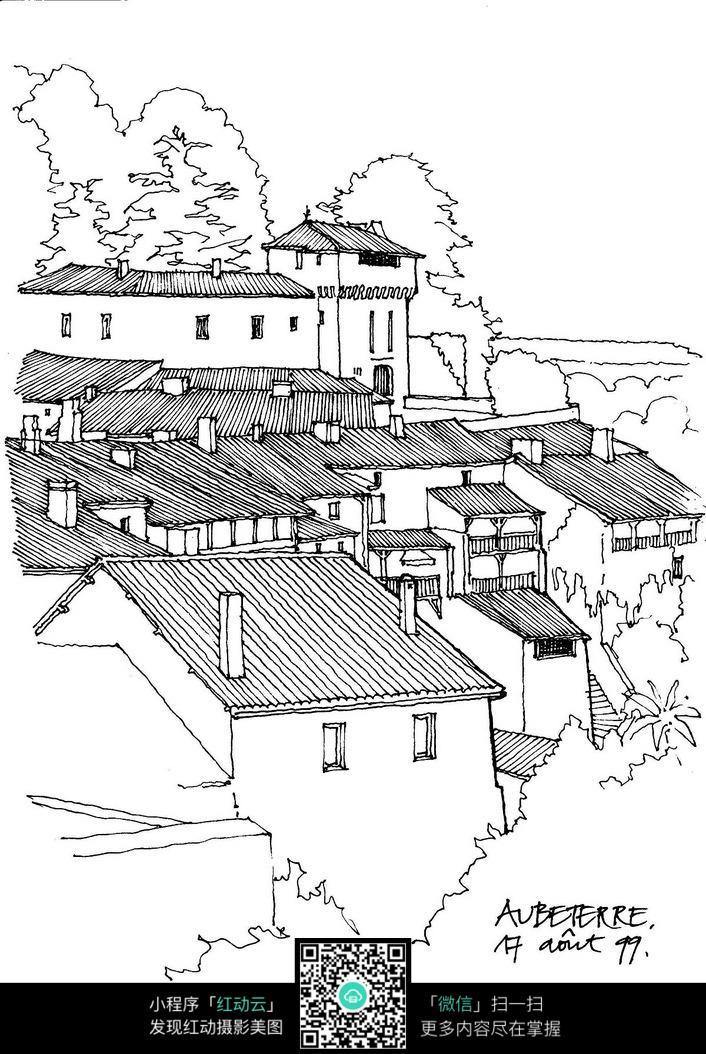 庭院建筑钢笔手绘线描图图片