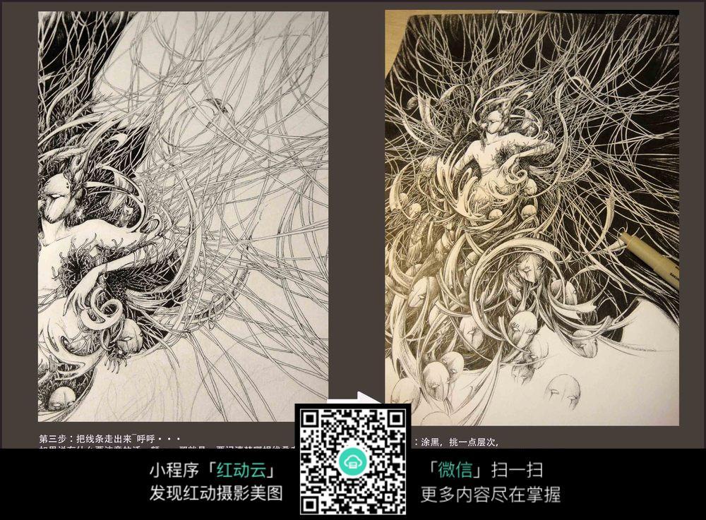 《痛》创意美女钢笔画步骤