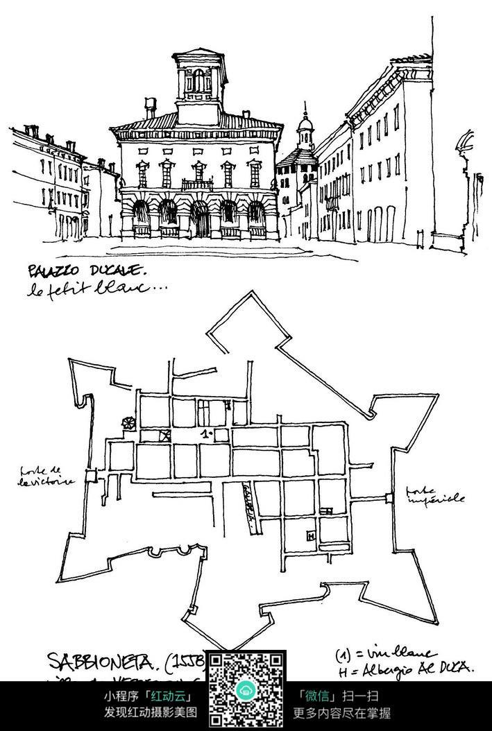 外国大楼手绘设计图