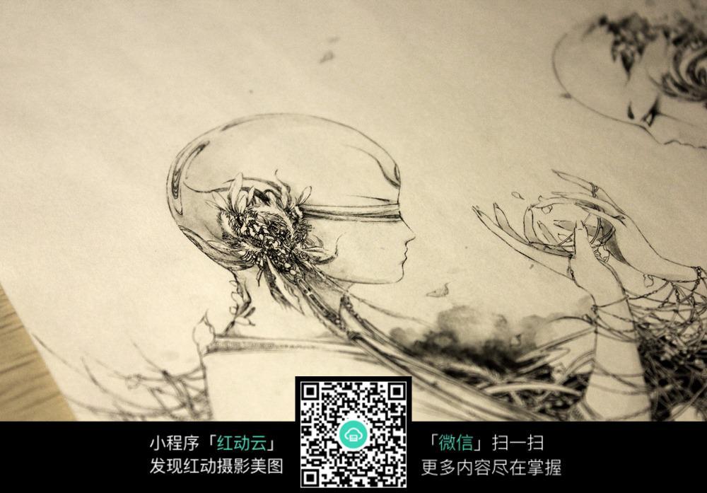 意美女黑白水墨线描画 梦落 创意美手黑白水墨线描高清图片