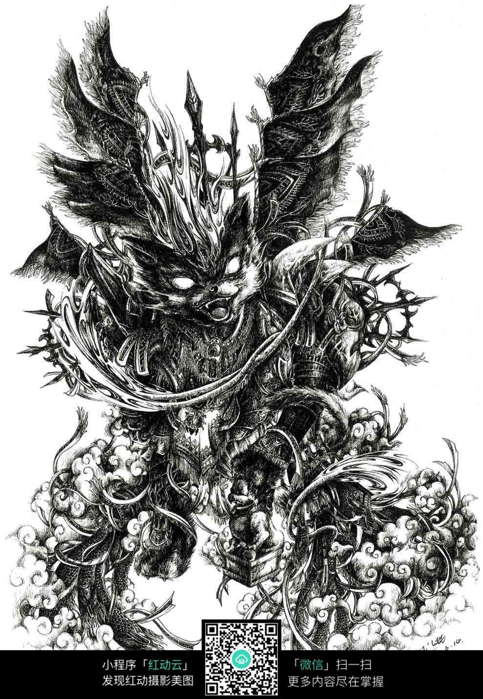 免费素材 图片素材 漫画插画 人物卡通 《威》创意野狼黑白钢笔线描画
