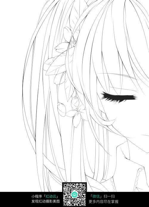 唯美女孩眼睛线描