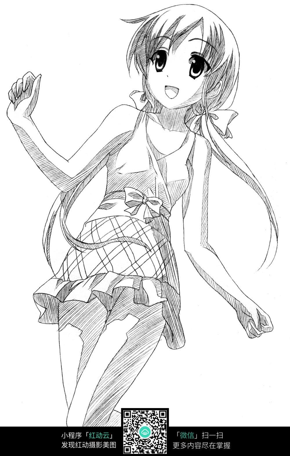 女孩 卡通 手绘线稿 卡通人物 手绘 线稿 漫画  卡通素材  插画 人物