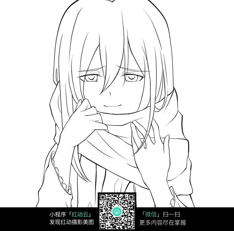 免费素材 图片素材 漫画插画 人物卡通 围着围巾的女孩线描  请您分