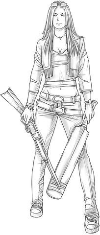 武器和女孩卡通手绘线稿图片_人物卡通图片
