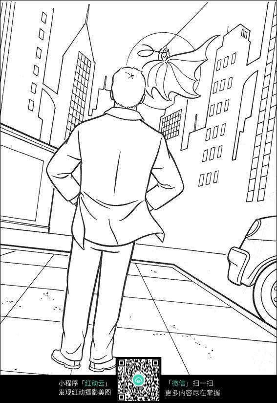 蝙蝠侠动漫人物背影线描