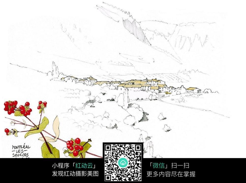 乡村建筑风光果实手绘线描图