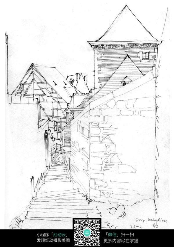 乡村街道手绘建筑线描