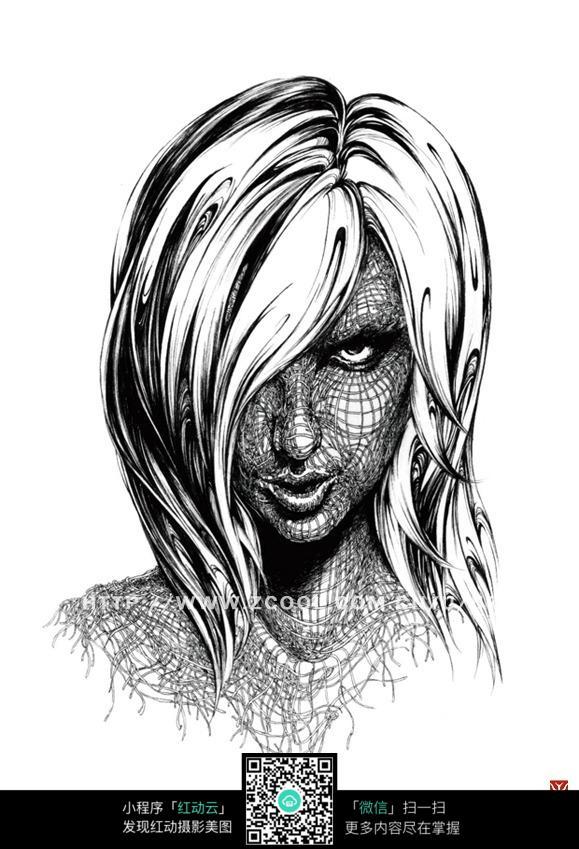 线描美女头像黑白线稿_人物卡通图片