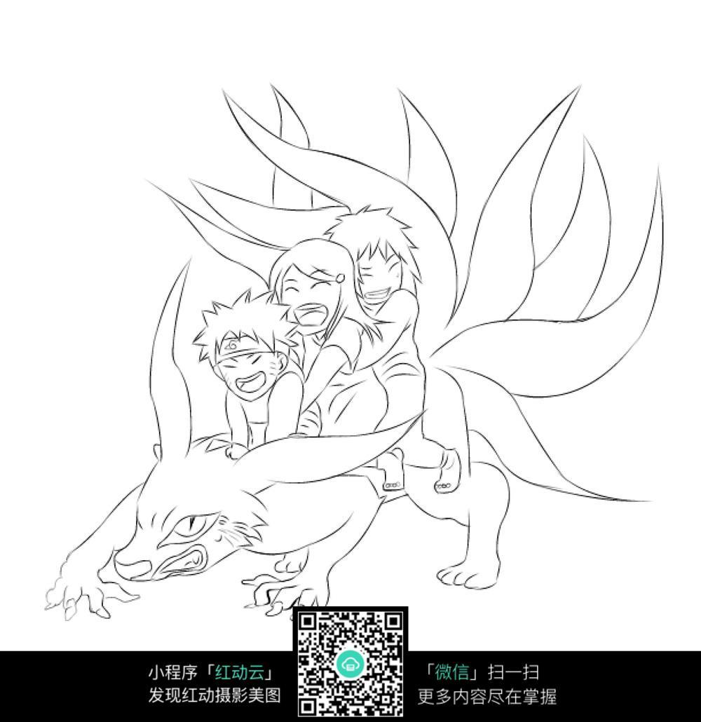 小孩和九尾狐卡通手绘线稿