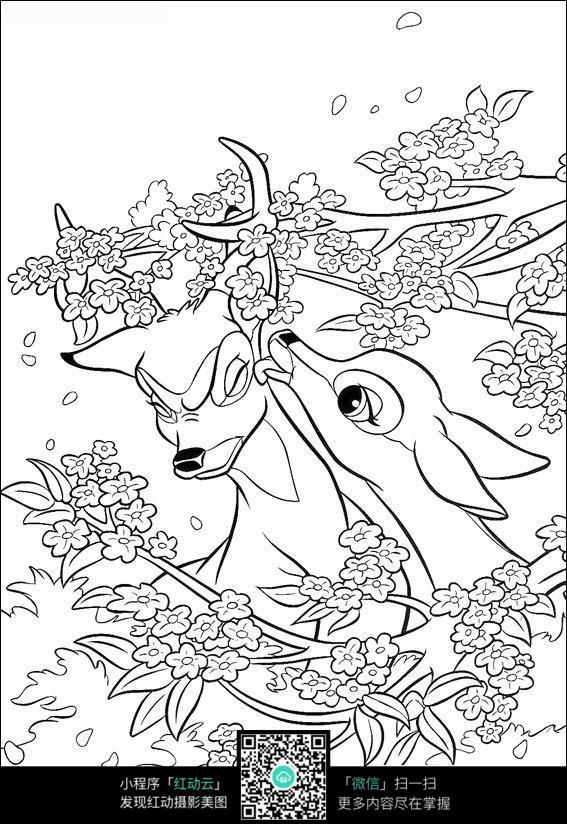 小鹿简笔画手绘