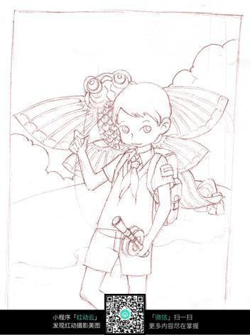 小男孩放风筝线描图片