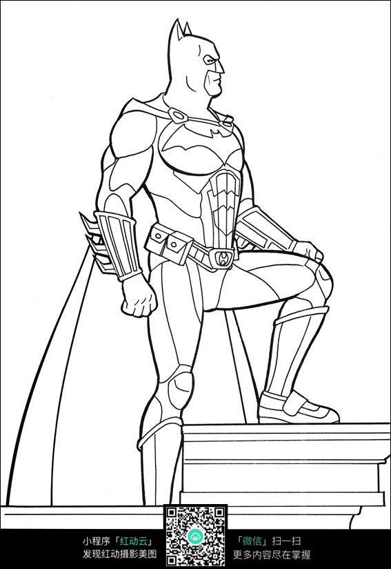 蝙蝠侠人物特写线描_人物卡通图片