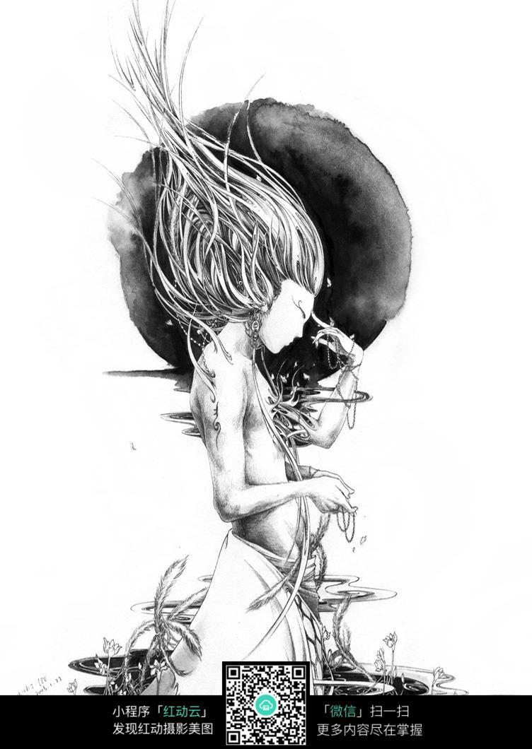 黑白手绘动漫人物女