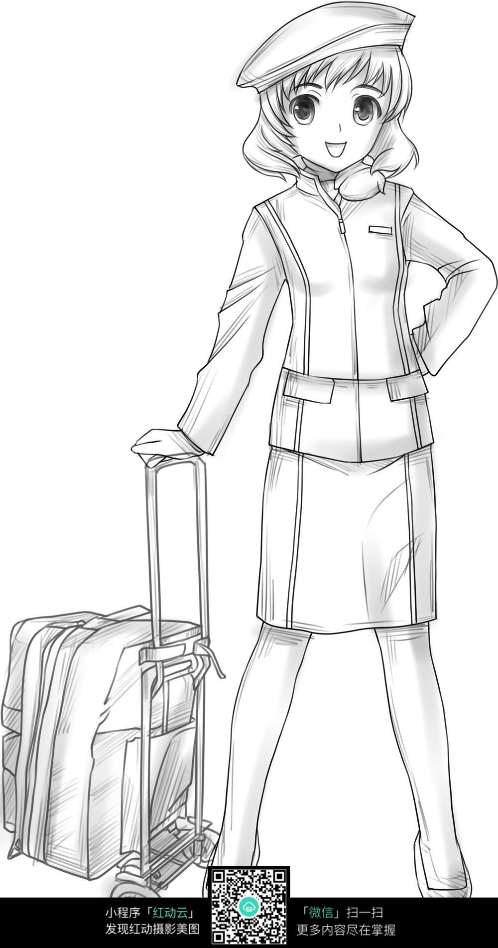 行李箱和少女卡通手绘线稿