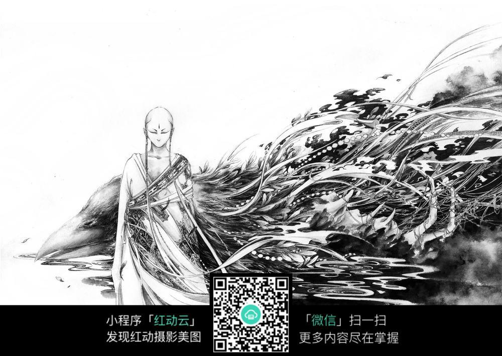 图片素材 漫画插画 人物卡通 《朽命》美女和老鹰黑白水墨钢笔线描画