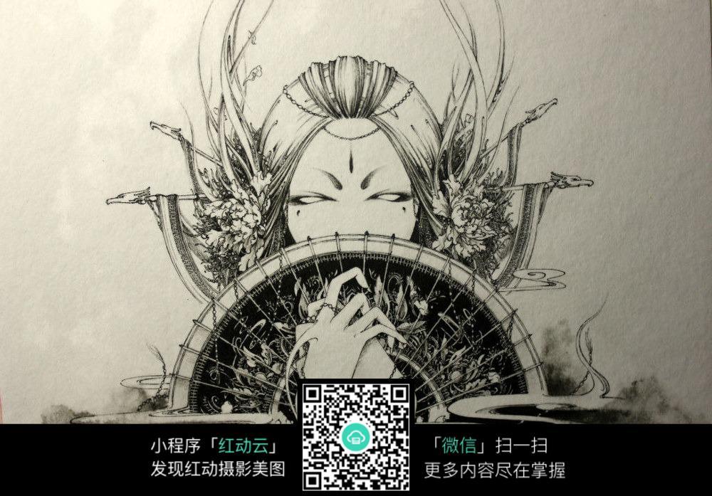 《西王母》创意黑白水墨钢笔线描画图片