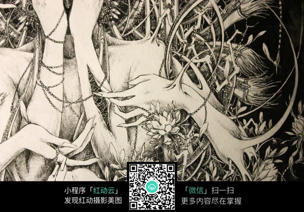 美女手绘针管笔笔线描画_人物卡通图片_红动手机版
