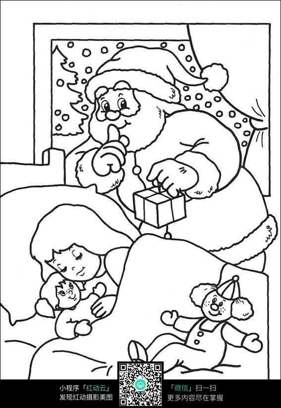 夜晚送小朋友礼物的圣诞老人卡通手绘线描图图片图片