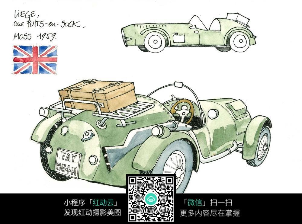 英国小汽车手绘水彩线描图图片