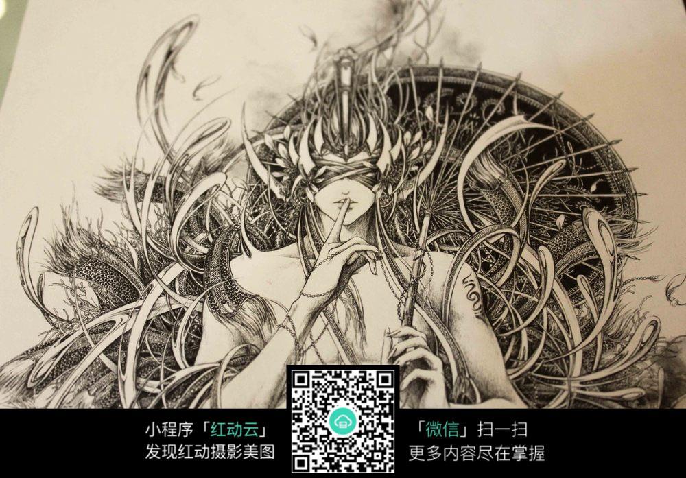 《玉衡》创意美女黑白钢笔线描画