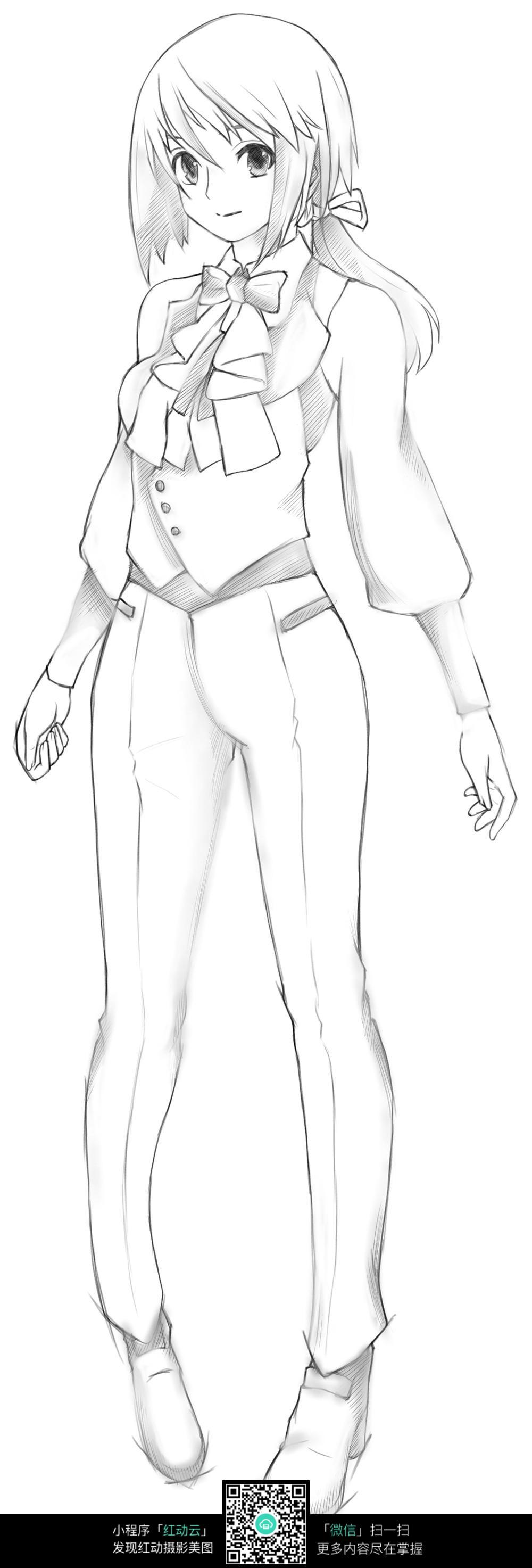 免费素材 图片素材 漫画插画 人物卡通 站立的女老师线描  请您分享