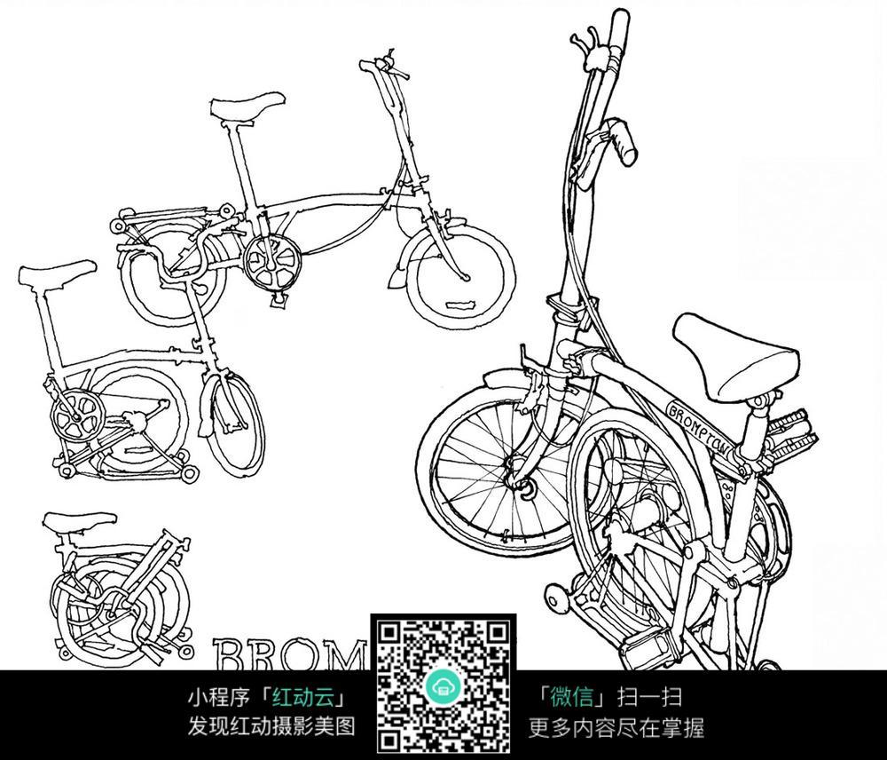 折叠自行车手绘线描图图片
