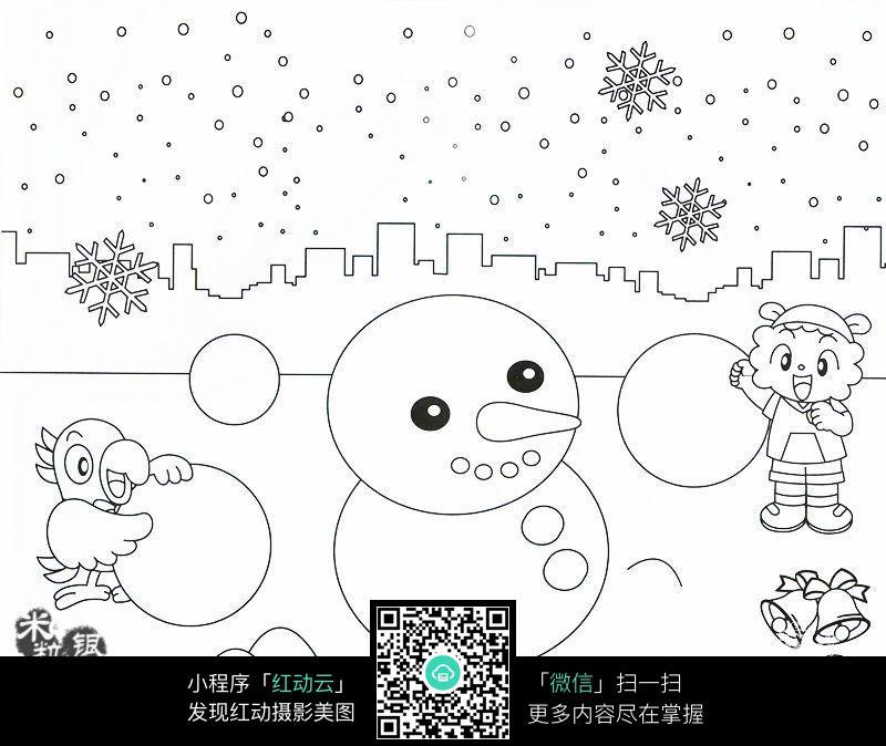 卡通动物堆雪人_人物卡通图片