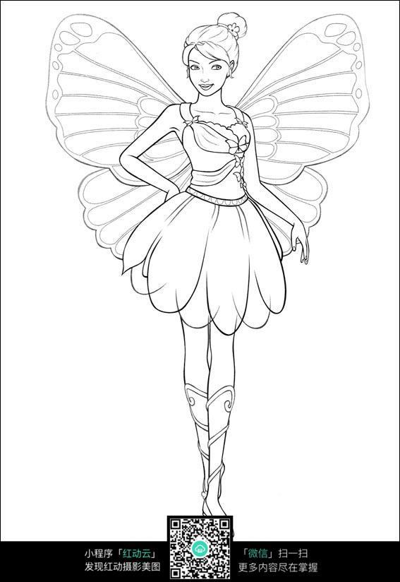 卡通蝴蝶仙子人物线描
