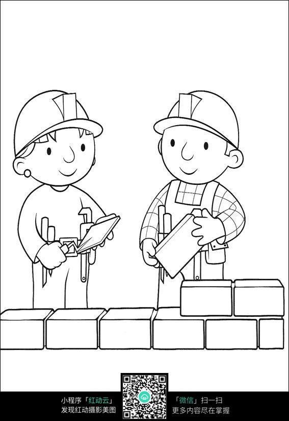 两个建筑工人砌砖卡通手绘填色线稿jpg