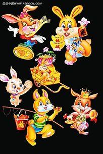 拟人兔子卡通插画