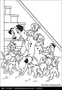 斑点狗和她的小狗卡通手绘填色线稿JPG