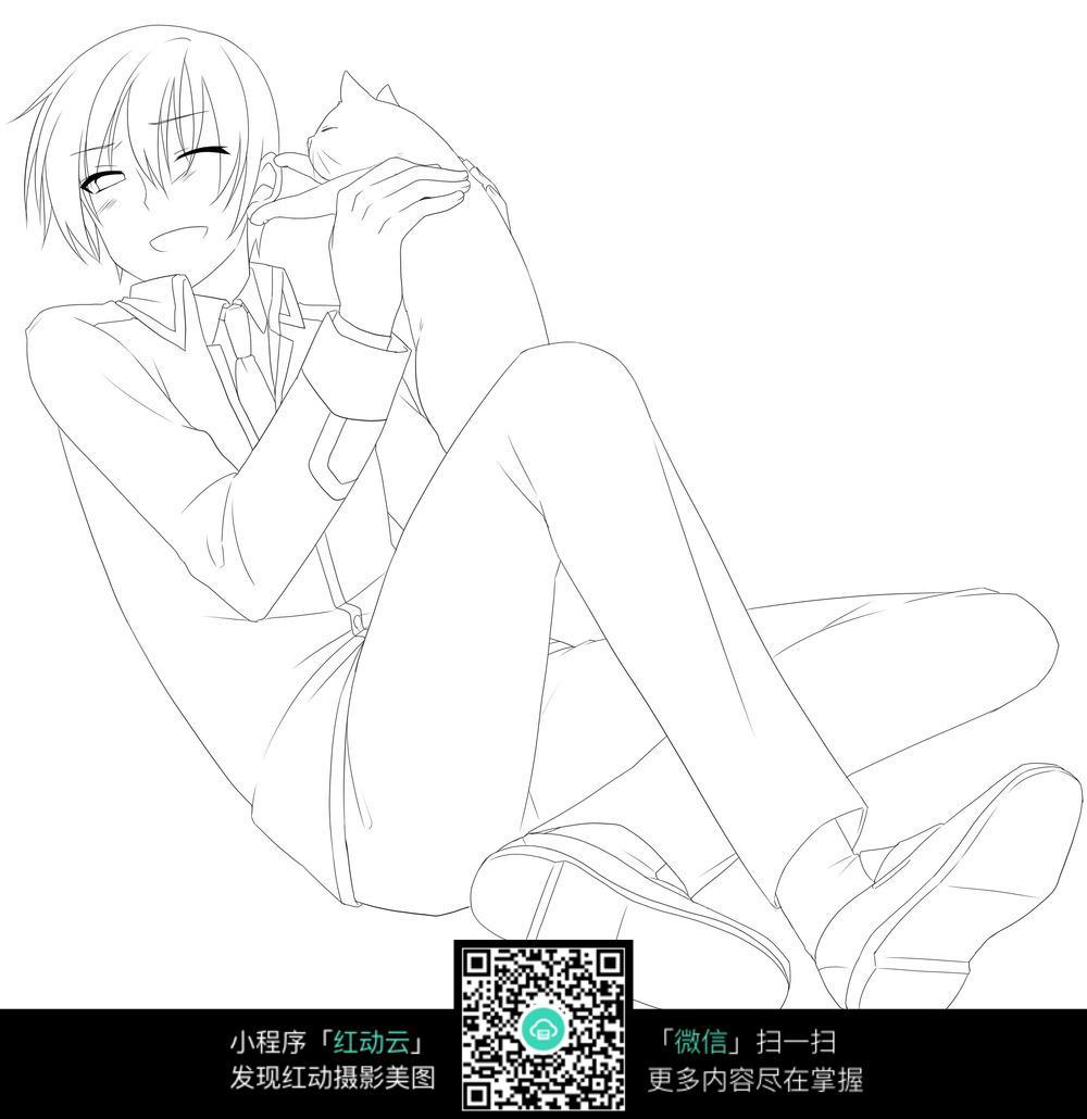抱着猫的男孩卡通手绘线稿jpg