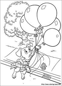 被氢汽球带走的小狗卡通手绘填色线稿JPG