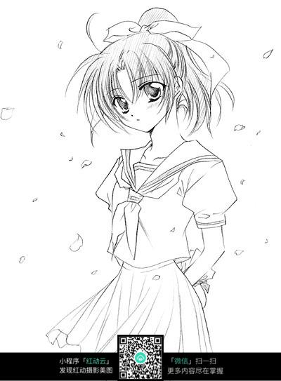 免费素材 图片素材 漫画插画 人物卡通 背手站立的女孩卡通手绘线稿