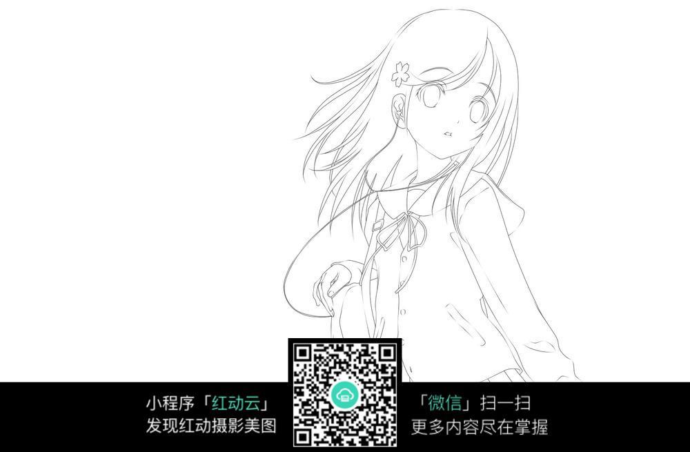 背书包的女孩侧面卡通手绘线稿jpg