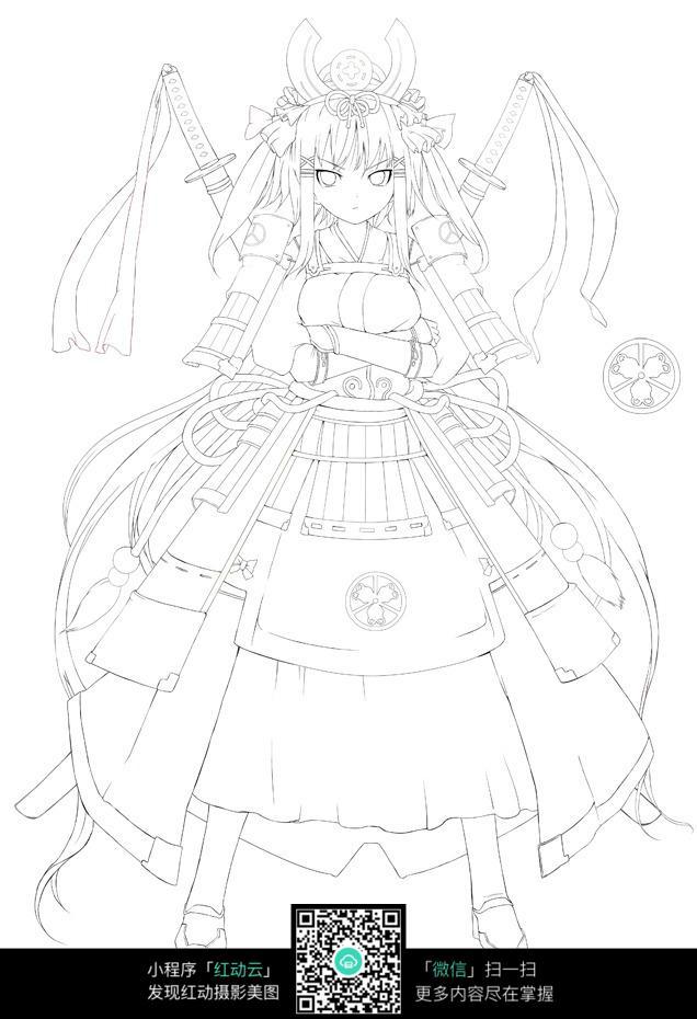 背着双剑的美少女战士卡通手绘线稿jpg