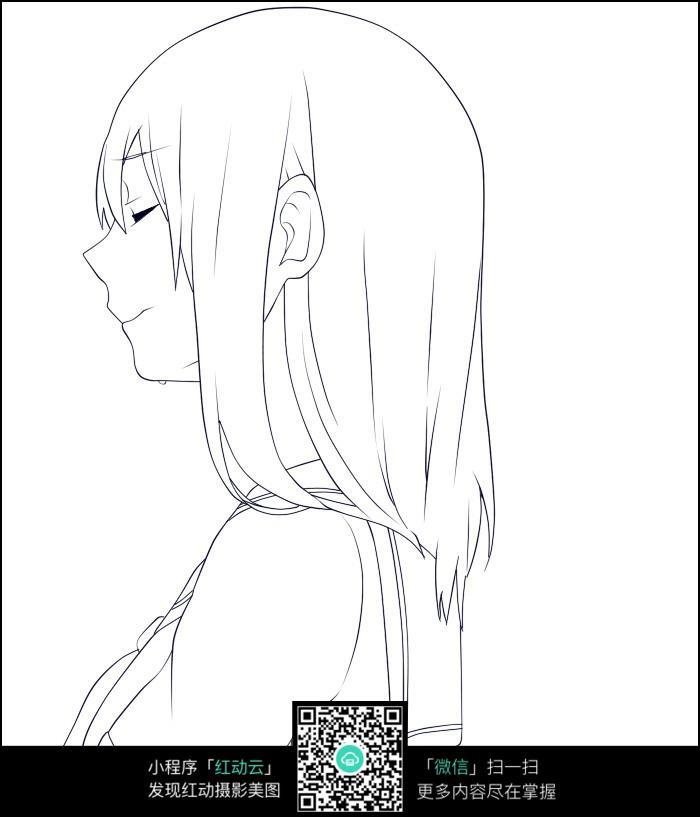 免费素材图片素材人物卡通漫画卡通闭眼的女孩侧面漫画手绘线稿插画天下第二图片