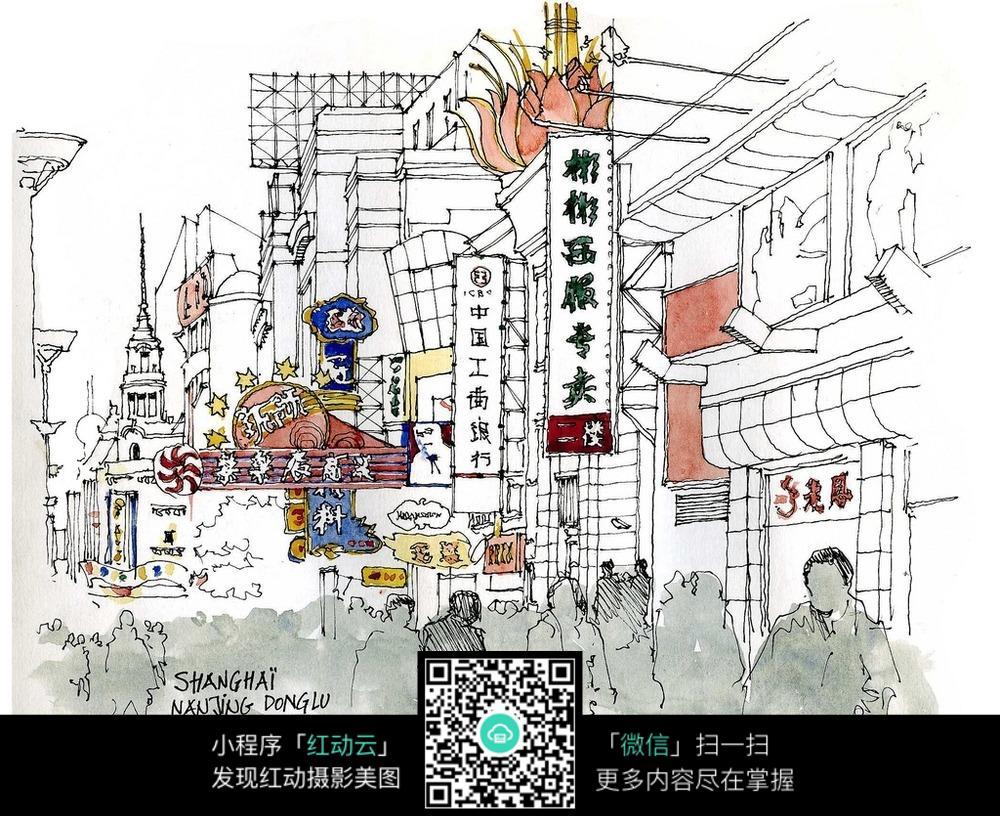 步行街建筑手绘图图片
